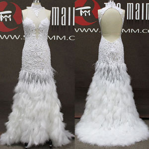 White Feather Beaded Lace Tulle Halter Mermaid Long Prom Dresses (TM-PD209)