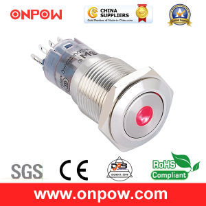 Onpow 16mm Metal Push Button Switch (LAS2GQF-11D/R/12V/S, CE, CCC, RoHS) pictures & photos