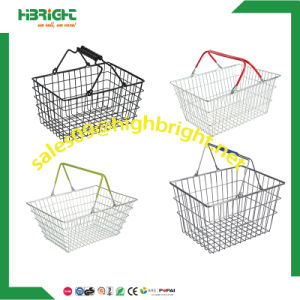 Supermarket Double Handle Metal Wire Shopping Basket pictures & photos