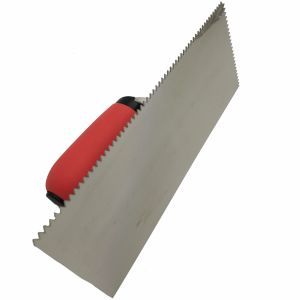 "Stainless Steel Trowel 11""*4-1/2"" V Notched 3/16""*5/32"" with Soft Red Handle FT41 pictures & photos"
