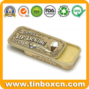 Cosmetic Sliding Tin Box for Lip Balms Slide Metal Can pictures & photos