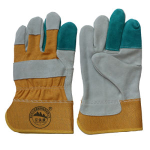 Reinforcement Cow Split Leather Working Safety Gloves pictures & photos