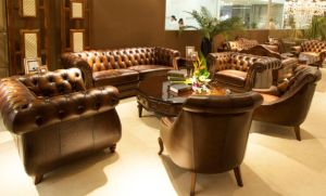 Top Quality Brown Color Vintage Chesterfield Leather Sofa Home Furniture pictures & photos