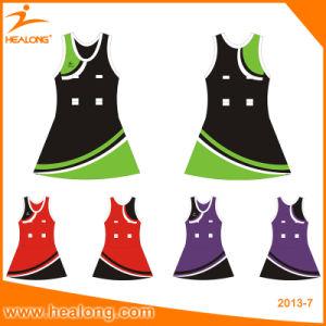 Yellow Color Sublimation Cheap Women Bodysuit Netball Dresses pictures & photos