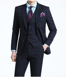 3PC New Style Men′s Slim Fit Fashion Navy Suit pictures & photos