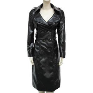 Lady Fashion Long PU Leather Coat