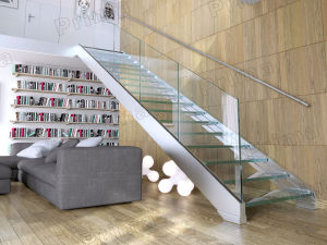 Double Stringer House Steel Glass Staircase Design pictures & photos
