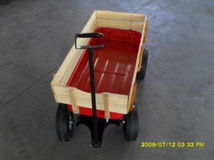 Red Wagon Cart for Baby with Wooden Side pictures & photos