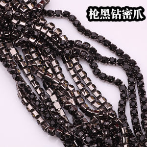 Gun Metal Claw Rhinestone Brass Cup Chain Rhinestone Chain (TCG-SS10 jet black) pictures & photos