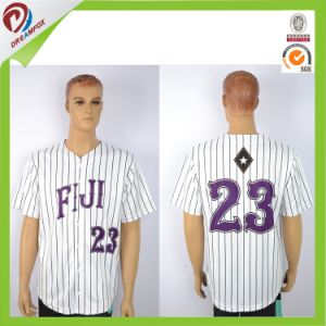 Dreamfox Polyester Dri Fit White Men Blank Custom Baseball Jersey Stripe pictures & photos