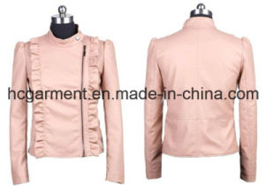 Fashion Punk PU Winter Jackets for Lady/Women, Leather Garment pictures & photos