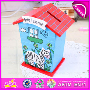 2015 Latest Kids Wooden Money Box, Fashion Colorized Welcome Home Wooden Money Box, Wholesale Wooden Money Box Toy W02A028 pictures & photos