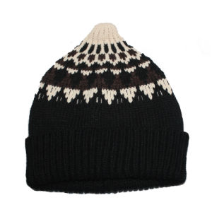 100% Acrylic Custom Flod up Knitted Hat and Wholesale Beanies Knitting Hats pictures & photos
