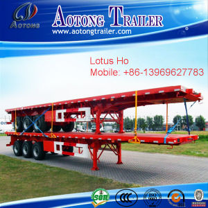 40 Feet 3axle 12wheels 50ton Flat Bed Container Truck Trailer pictures & photos