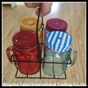 Set Glass Mason Jar with Metal Basket pictures & photos