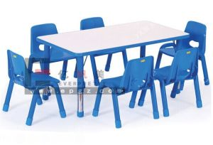 6 Child Blue Color U Shape Height Adjustable Preschool Children Table with Chairs pictures & photos
