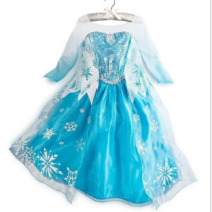 Factory Price Girl′s Cotton Blending Splicing Frozen Dress (D228)