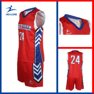 Red Color Customized Design Full Sublimation Basketball Set Jerseys pictures & photos