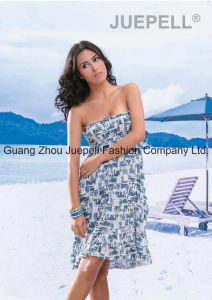 Women Woven Abstract Print Strapless Beach Dress pictures & photos