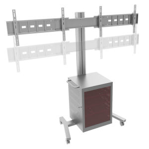 "Video Conference Stand Dual Screen 30-60"" Lockable Cabinet (VRS 2000) pictures & photos"