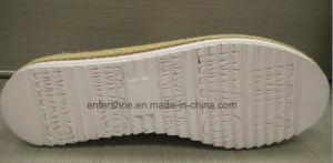 Gold Color Lady′s Fashion Shoes with Jute Side (ET-LD160115W) pictures & photos