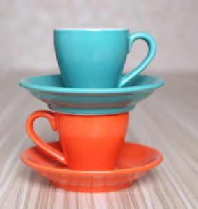 Colorful Ceramic Coffee Cup 80ml Coffee Cup Enamel Coffee Cup & Saucer pictures & photos