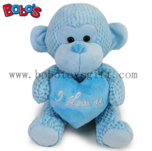 Special Valentines Day Gift Stuffed Blue Monkey Plush Toy with Blue Heart Pillow pictures & photos