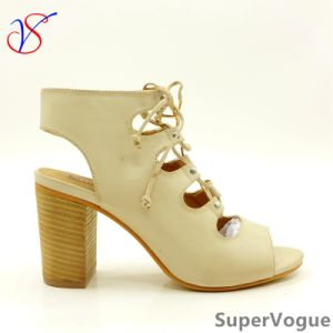 Two Color Sex Fashion High Heeled Women Lady Sandals Shoes for Socially Business Sv17s001-07-Beige