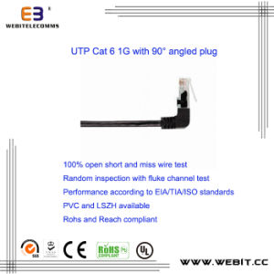 Cat5e/CAT6/CAT6A Patch Cord/Patch Cable with 90 Degree Angled Plug pictures & photos