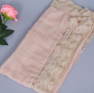 Women′s Fashionable Muslin Voile Viscose Soft Lace Solid Color Head Scarf pictures & photos