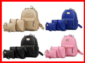 China Wholesale New Products Leisure 3 in 1 Design PU Leather Backpack with Rivet pictures & photos
