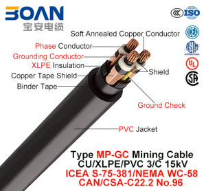 Type MP-Gc, Mining Cable, Cu/XLPE/PVC, 3/C, 15kv (ICEA S-75-381/NEMA WC-58) pictures & photos