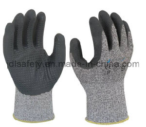Dotted Cut Resistant Work Glove with Foam Nitrile Coating (ND8063) pictures & photos