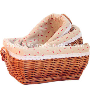 Full Handmade Special Natural Wicker Storage Basket with Liner pictures & photos