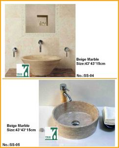 Washbasin, Natural Stone Sink Round Bowl for Toilet (YKSS-02)