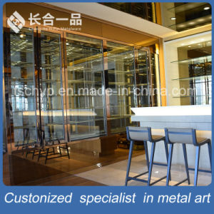Customized Rose Gold Hairline Red Wine Cellar Cabinet Furniture pictures & photos