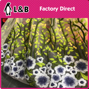 Embroidered Mesh Garment Colored Lace Fabric pictures & photos