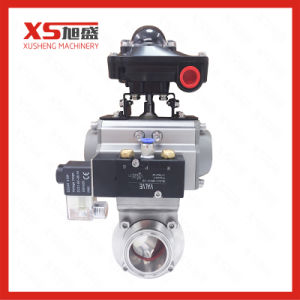 Hygienic Tri Clamp Pneumatic Butterfly Valve with Double-Acting Aluminum Actuator pictures & photos