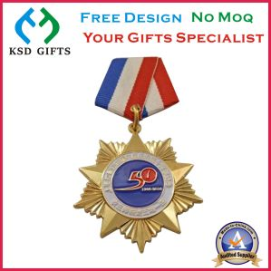 Mulity Color Custom Die Cast Enamel Medal with Blue Ribbon pictures & photos