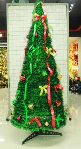 Christmas Tinsel Tree for Green with Ribbon