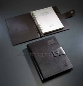 Company Logo Embossed Luxury PU Cover Loose Leaf Notebook pictures & photos