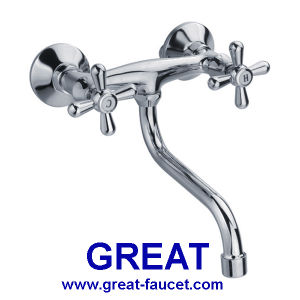 Double Handle Wall Kitchen Mixer with S-Spout pictures & photos