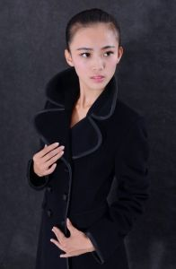 2016 Fashion Design Women Long Wool Coat, Double Breasted Coat with Big Collar