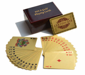 Golden Playing Cards with Wooden Gift Box pictures & photos