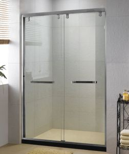 1000 images about bathroom frameless sliding shower doors for Hanging sliding glass doors