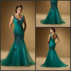 Blue Tulle Party Prom Gown Mermaid Mother Formal Evening Dress E184 pictures & photos