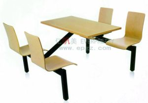 Canteen Table Furniture 4 Seaters Dining Table with Metal Frame pictures & photos