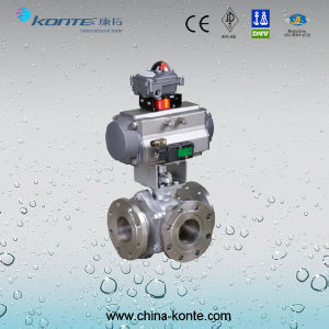 Pneumatic Flanged 3 Way Ball Valve pictures & photos