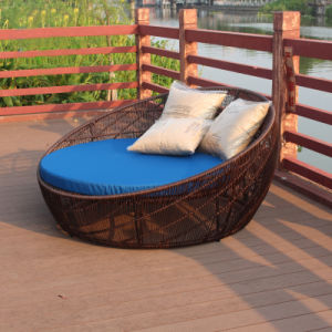 Round Sunshine Lounge Beach Chaise Lounge Circular Garden Furniture Rattan Sun Daybed T571 pictures & photos