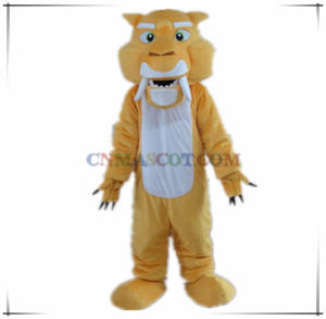 Saber-Toothed Tiger Mascot Ice Age Cartoon Character Costume